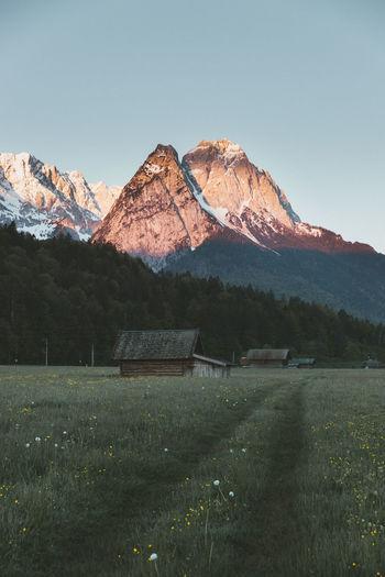 Morning mountain glow in garmisch-partenkirchen, germany
