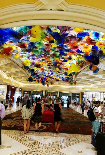 Umbrellas Hanging From The Roof Large Group Of People Indoors  Tourism Samsung Galaxy S7 Edge Check This Out Las Vegas NV Architecture Built Structure Art Is Everywhere