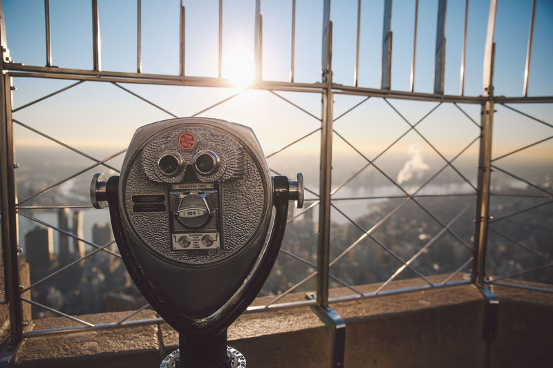 The City Light Binoculars Built Structure Cityscape Coin Operated Coin-operated Binoculars Cold Empire State Building Manhattan Morning New York New York City NYC Observation Point Roof Rooftop Sky Sunbeam Sunlight Sunrise Technology Tourism Travel Travel Destinations Winter