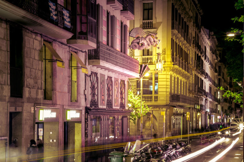 iLove BCN Architecture Barcelona Building Exterior Built Structure Catalonia City Contrast Dragon Illuminated Larambla Magenta Motion Night No People Outdoors SPAIN Street Streetphotography Travel Travel Photography Traveling