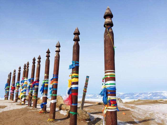 Landscape with the image ritual shaman pillars on olkhon island