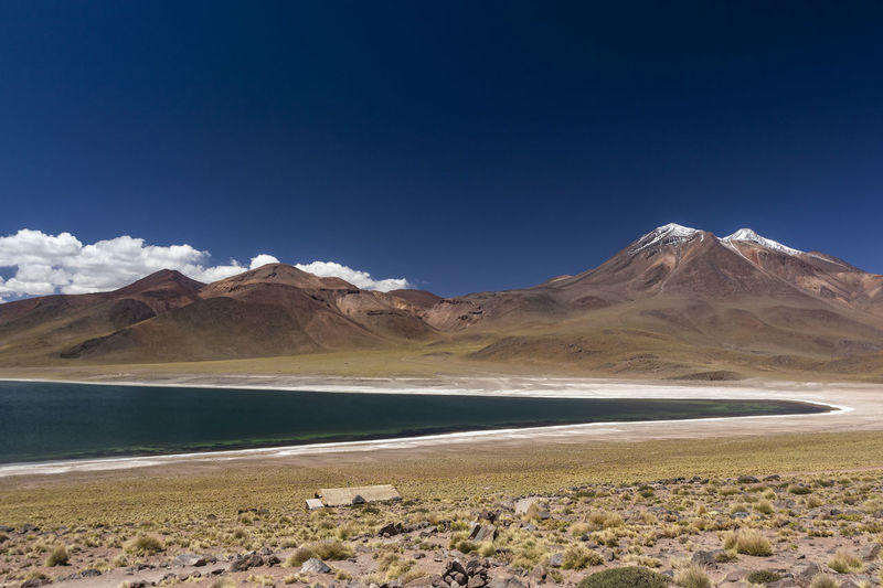 miniques volcano and mountains with snow and miscanti lagoon at andes mountain range Andes Arid Climate Beauty In Nature Blue Day Desert Environment Lake Land Landscape Mineral Miscanti Mountain Mountain Peak Mountain Range Nature No People Non-urban Scene Outdoors Salt Flat Scenics - Nature Sky Tranquil Scene Tranquility Water