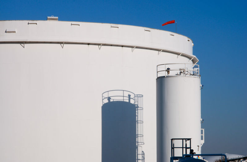 Storage tanks at an oil refinery