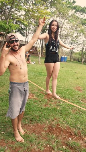 Slackline Full Length Lifestyles Smiling Happiness Long Hair Looking At Camera Enjoying Life Hilarious Hi! Happiness Friends That's Me