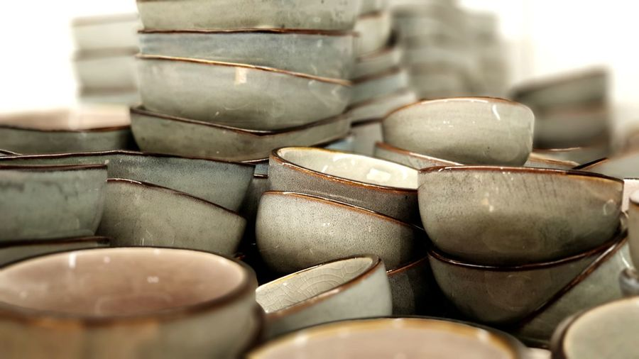 Close-up of stacked bowls