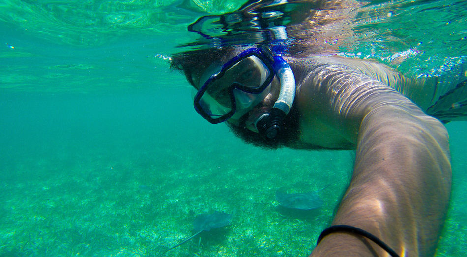 Close-Up Of Man Snorkeling In Sea