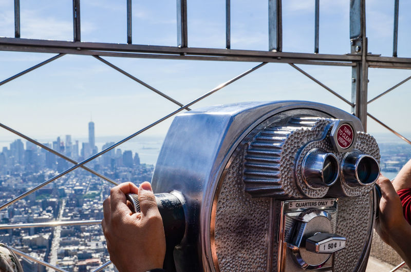 Close-Up Of Coin Operated Binoculars At Empire State Building