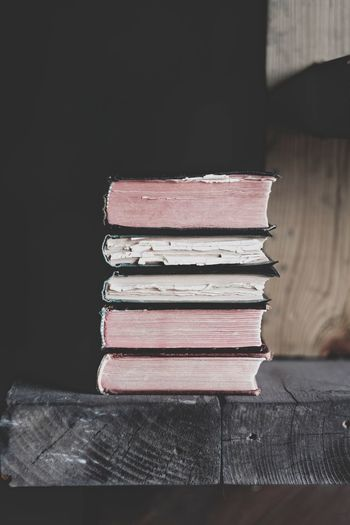 Close-up of stack on books