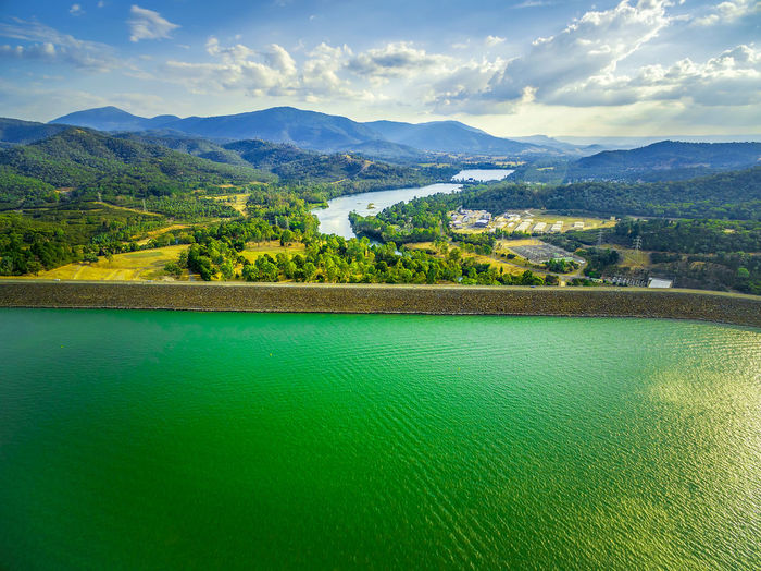 Aerial view of Lake Eildon dam and Goulburn River in Australia Australia Australian Landscape Beautiful Breathtaking Drone  Panorama Panoramic Scenic Aerial View Drone Photography Eildon Lake Landscape Scenics Sunset