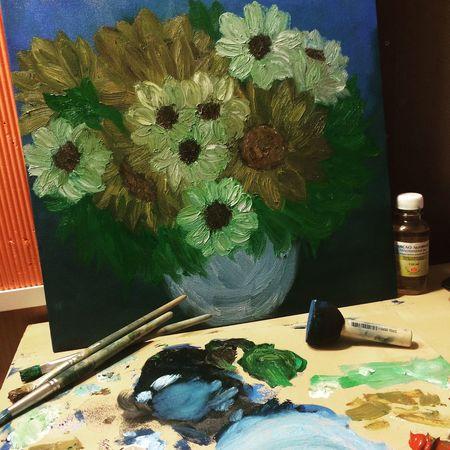 картина картинамаслом мое творение  хобби искусство моя первая картина 🎨 Flowers Art