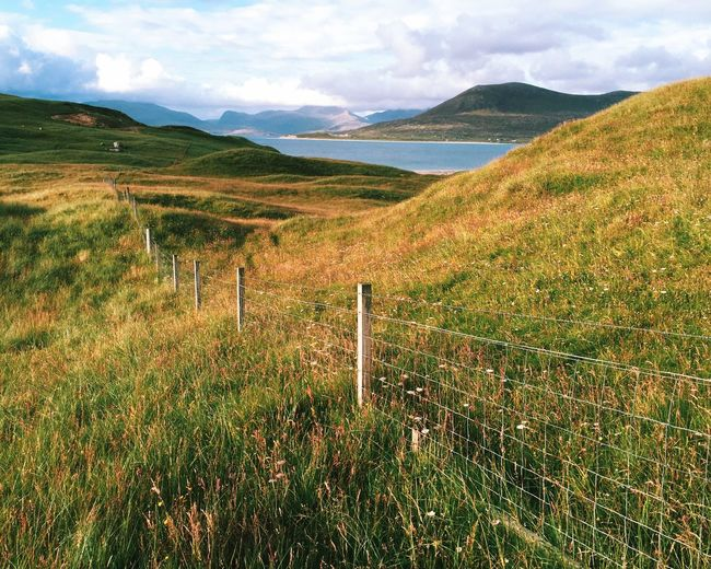 Beauty In Nature Day Fence Grass IPhone IPhoneography Landscape Mountain Nature No People Outdoors Outer Hebrides Scenics Scotland Tranquility