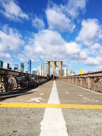 NYC Photography NYC Street Photography Antique New York Manhattan Suspension Bridge Outdoors Built Structure Day Bridge - Man Made Structure Architecture Sky Cloud - Sky Tourism Arrow Bicycle Road