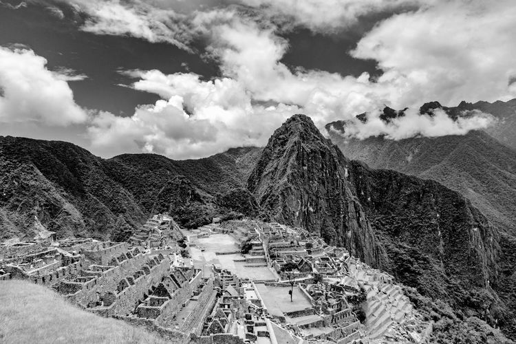 High angle view of old ruins against sky in machu picchu