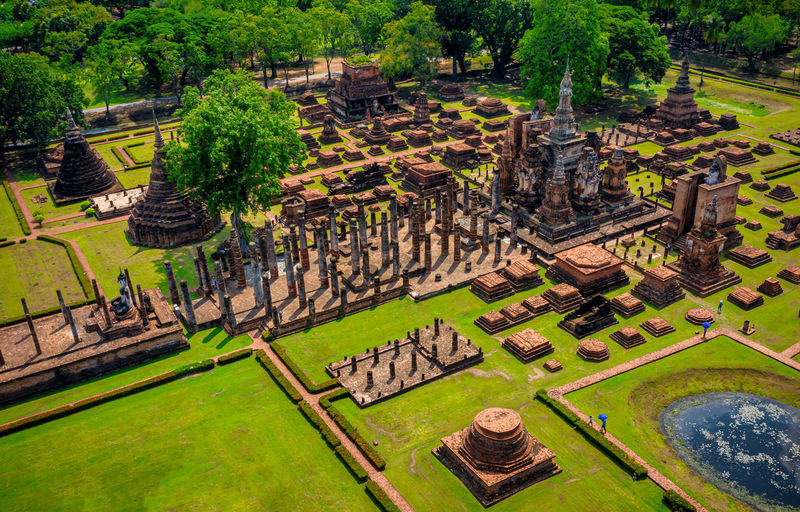 High angle view of temple