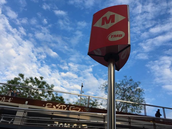 Subway station Subway Station Barcelona Cloud - Sky Sky Nature Day Low Angle View Communication Sign Built Structure Architecture