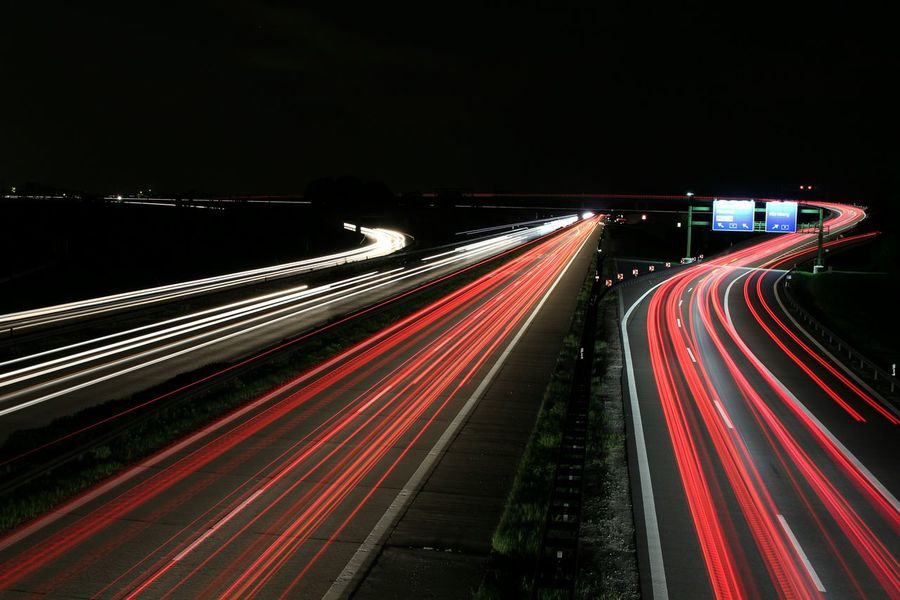 Taking Photos Night Photography Late Night Nightphotography Autobahn Traffic Traffic Jam 11pm