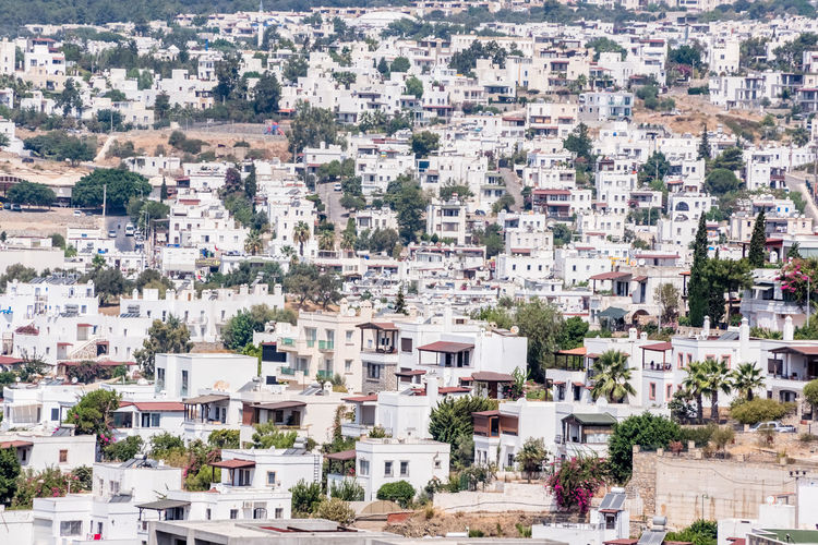 Borum town,a popular destination in Bodrum,Turkey. Bodrum Marmaris Building Exterior Architecture Built Structure City Building Residential District Crowd Crowded Day House Nature Plant Tree High Angle View Town Community Cityscape Outdoors Full Frame TOWNSCAPE Apartment