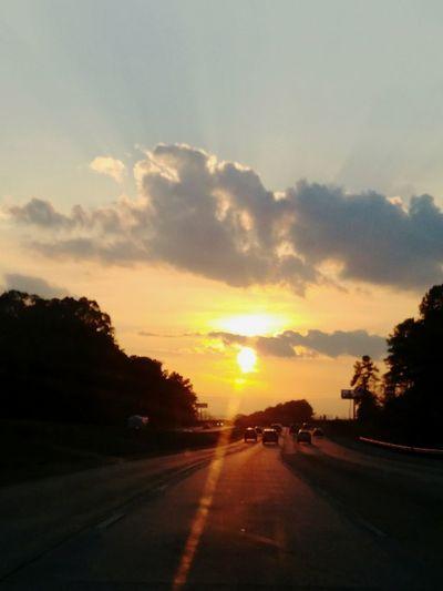 🌖🌆 Sunset Road Sun Car Cloud - Sky Tree Sunlight