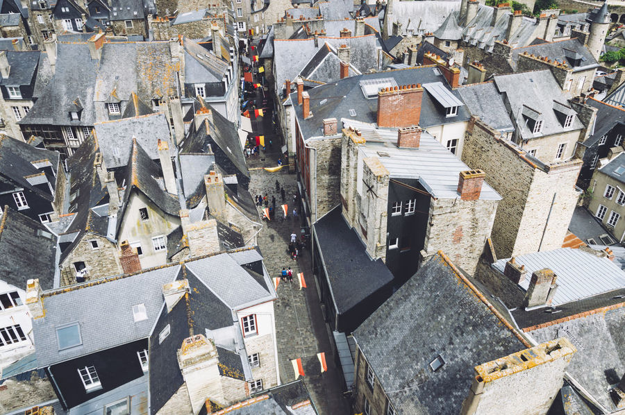High angle view of the city of Dinam Aerial Architecture Bretagne Britain Building Exterior Built Structure City Cityscape Day Destination Drone  Europe France High Angle View No People Outdoors Summer Summertime Travel