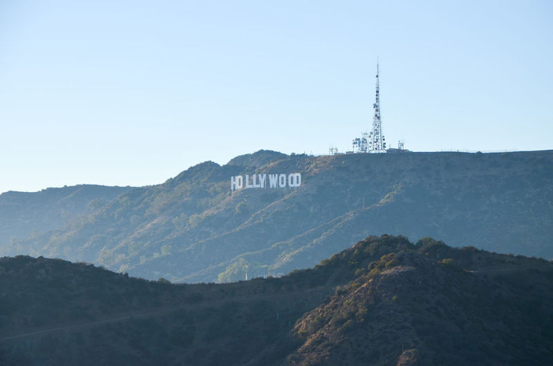 Architecture Beauty In Nature Building Exterior Built Structure Clear Sky Communication Day Hollywood Hollywood Sign Los Angeles, California Mountain Mountain Range Nature No People Outdoors Scenics Sky Technology Tranquility Travel Destinations