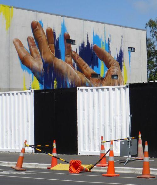 Christchurch New Zealand Murals Walking Around Art Contrast Hand Human Hand Muralsart New Zealand Outdoors Road Cones Street Art Street Photography EyeEmNewHere