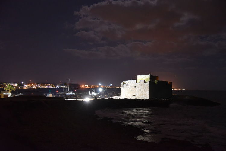Cyprus Meer Nachtaufnahme Nachts Paphos Paphos Castle Wolkenhimmel Architecture Building Exterior Built Structure Cloud - Sky Illuminated Nachthimmel Nature Nautical Vessel Night No People Outdoors Sea Sky Water Zypern