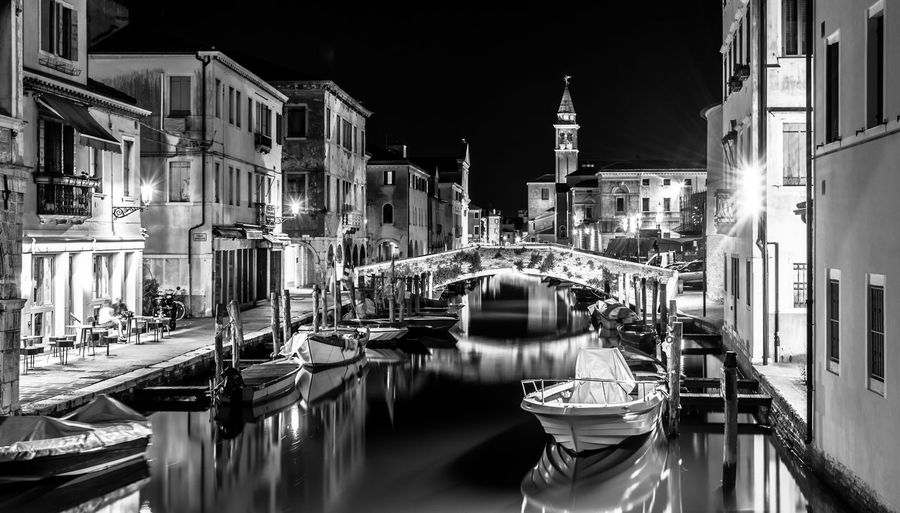 Architecture Bridge Built Structure Canal Chioggia, Italy Illuminated Italy Night No People Outdoors Reflection Water