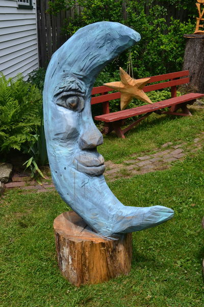 Blue Moon Carving In Wood Chainsaw Carvings Day Grass No People Outdoors Panama Rocks,NY Sculpture Statue Wood