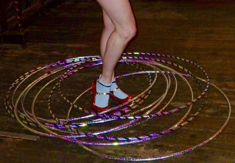 Burlesque Dancer Hula Hoops Legs