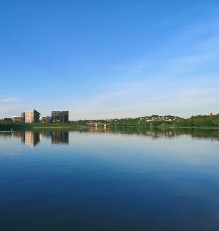 Lithuania Kaunas Urban Urbannature Apartment River Nature Contrast Archtecture Composition Exteriordesign Light And Shadow Outdoors Bridge City Cityscape Water Clear Sky Urban Skyline Lake Blue Symmetry Tree Reflection TOWNSCAPE Town Calm