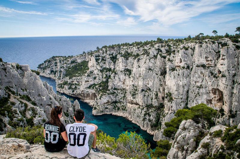 Couple overlooking rocky landscape