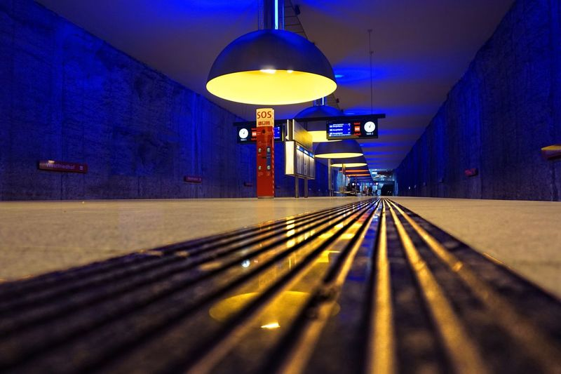Station Westfriedhof Ubahn München Ubahn Metrostation Metro Illuminated Transportation Architecture Lighting Equipment Indoors  The Way Forward Direction Built Structure Electric Light Diminishing Perspective Tunnel Railing Surface Level No People Shadow