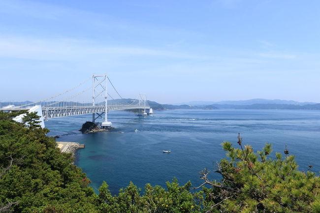 時間の関係で渦潮見れず、残念。 Beauty In Nature Blue Sea Blue Sky Bridge Day Japan Mode Of Transport Naruto Nature Nautical Vessel No People Outdoors Scenics Sea Shikoku Sky Transportation Tree Water 鳴門