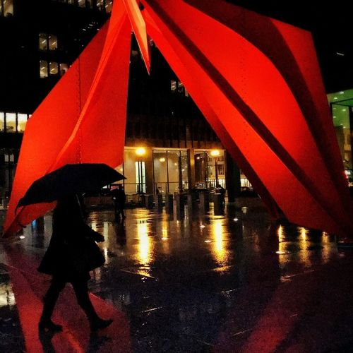 Rainy night Streetphotography Chicago Reflection Umbrella Sculpture Rain Water Night Weather Illuminated Real People Wet One Person City Red