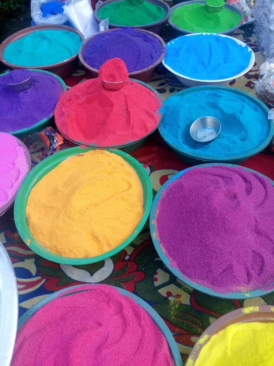Art And Craft, Choice Circle Cultures Day Diwali For Sale Holi Indian Culture, Market Market Stall Merchandise Multi Colored No People Outdoors Powder Paint Religion Retail  Variation Vertical