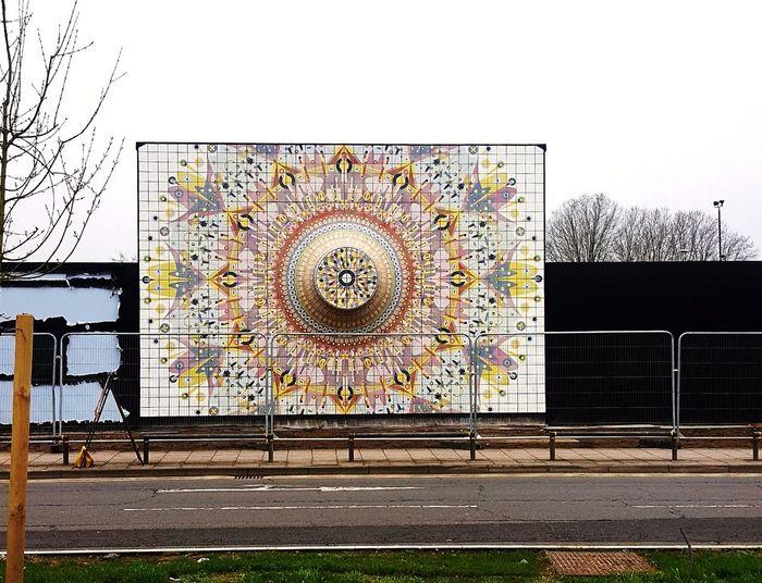 Ceramic tile mural: designers - FleaFolly Architects. Contractor Colin Barber Tiling Co. London UK Mural Art Tiled Wall Tile Mural Greenwich,London Peninsula Roadside Shots