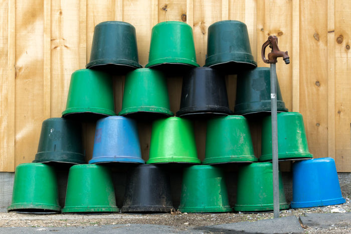 Barn Buckets Green Hydrant Wood Blue Bucket Colorful In A Row Pattern Stack Stacked Water