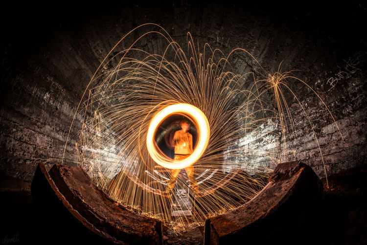 W16820172082017 Blurred Motion Burning Circle Fabric Factory Fireball Illuminated Long Exposure Motion Spinning Wire Wool