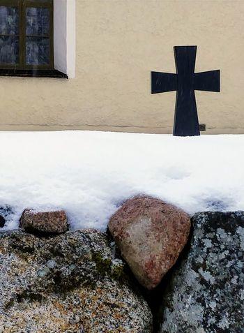 Gryta church. Snow Stone Stones Cross Church Snowcapped Winter Frozen Snow Covered