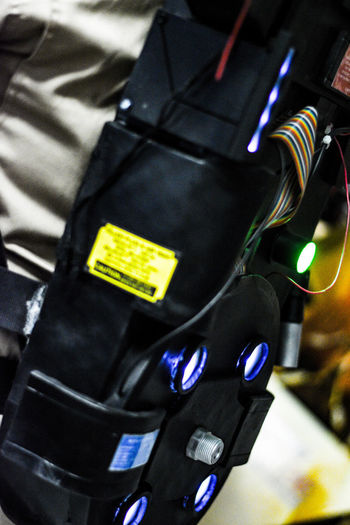 Black Color Built From Scratch Close-up Cosplay Cosplay Prop Cosplayer Cosplaying Day GhostBuster Ghostbusters Ghostbusters Fresno Division Illuminated Indoors  No People Paranormal Elimination Tool Positron Collider Prop Proton Pack Protonpacks Tech Technology