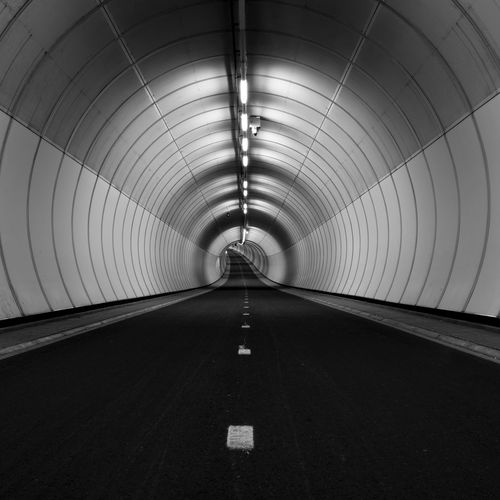 Heienoordtunnel in Barendrecht Underground Road squaready Square minimalism Fine Art Photography Fietsers Fietstunnel Heienoordtunnel Underground Road Squaready Square Minimalism Blackandwhite Indoors  The Way Forward Illuminated Tunnel Built Structure Architecture No People The Graphic City