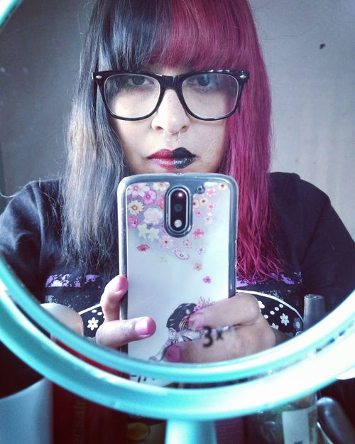 Half me Mirror Myself Halfcoloredhair Wireless Technology One Person Old-fashioned Photography Themes One Woman Only People Photographing Indoors  Selfie