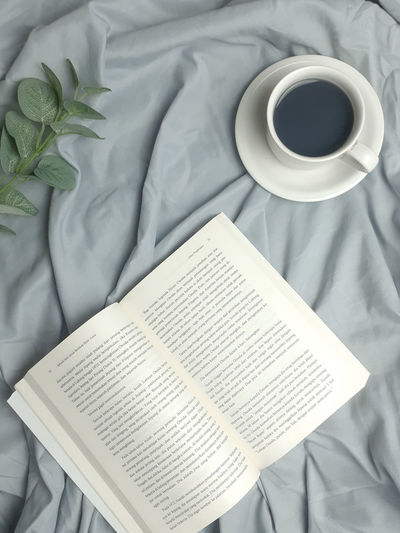 High angle view of coffee cup with book on bed