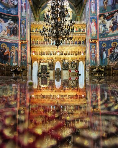 Reflection of temple in building