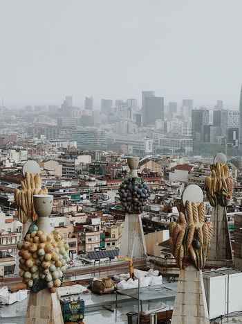 Barcelona Sagrada Familia Building Exterior Architecture Built Structure City Sky Building Cityscape Nature Day Copy Space Outdoors Crowded High Angle View Crowd Clear Sky Residential District City Life Settlement