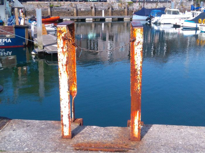 dive right in Nautical Vessel Reflection Harbor Dock Commercial Dock Mooring Post Waterfront Shipyard