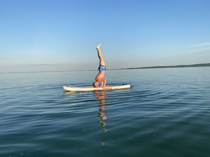Headstand on the board