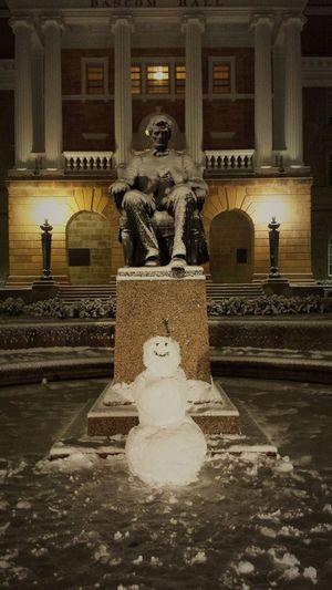 UW Madison Bascom Abraham Lincoln Fresh Snow Snow Man Night Art Shadowing Architecture Wisconsin