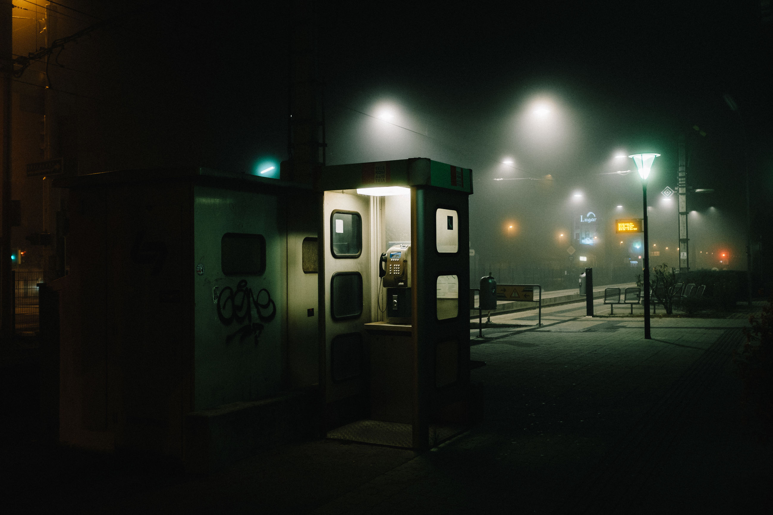 illuminated, night, no people, telephone booth, indoors, technology, pay phone