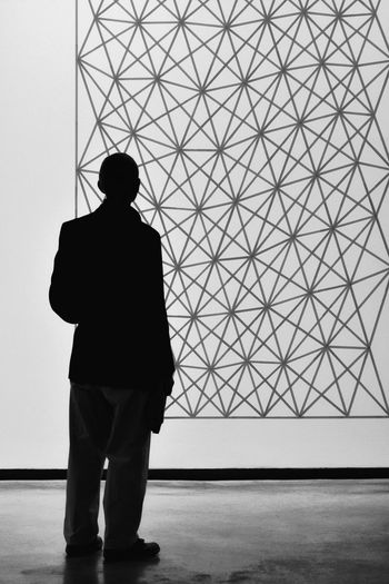 Rear View Of Silhouette Businessman Looking At Screen During Presentation